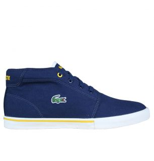 Lacoste Ampthill WP SPM Mens Mid Trainers SS12 Navy Yellow