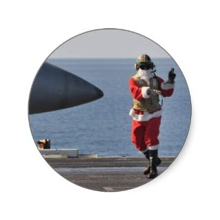 Santa on an aircraft carrier sticker