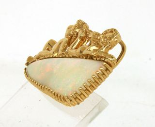 Vintage 14k Gold 40 Ct Opal Cherubs Ladies Pin Brooch