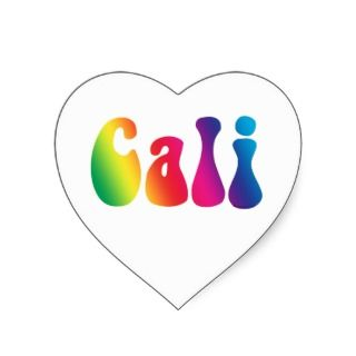 Cali Tie Dye California Hippie Logo Heart Sticker