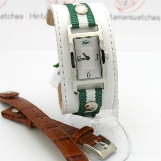Lacoste Inspiration Green Stripe / Brown Interchangeable Strap Watch