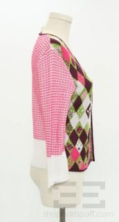 Bazar Christian Lacroix Pink Burgundy Green Sequined Cardigan Sweater