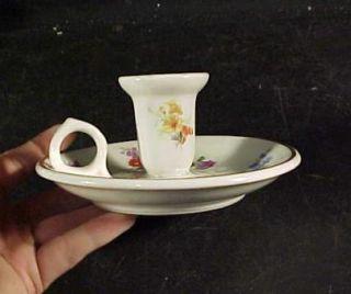 Lamberton Scammell Porcelain Candle Holder Finger Lamp Flowers Gold