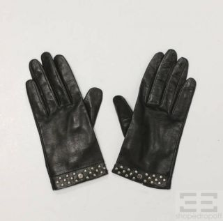 LAMBERTSON Truex Silver Studded Black Leather Gloves Size 7