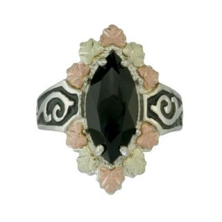 Black Hills Gold Sterling Silver Onyx Ladies Ring Antiqued Finish
