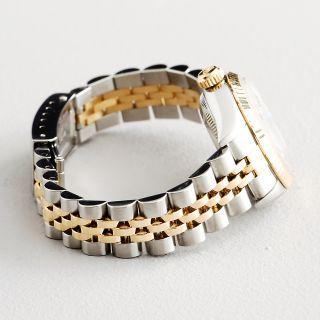 Ladies Rolex Datejust 2Tone 18K Gold Steel Watch White Anniversary