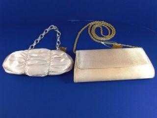 La Regale Evening Bags Beige Pleated Gold Satin