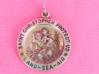 Silver St. Christopher Land Sea Air Dog Tag Medal 1967 Vietnam Era