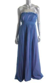 Laila New Blue Crinkled Silk Chiffon Long Strapless Formal Dress Gown
