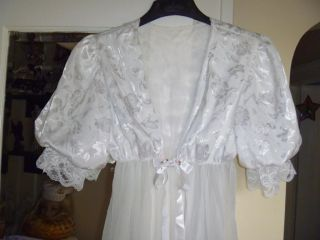 Vtg 80s Lacey Sheer White Chiffon Balloon Slv Maxi Babydoll Empire