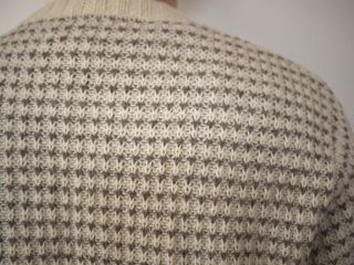 Vintage Cream Brown Crewneck Patterned Wool Blend Mens Sweater USA