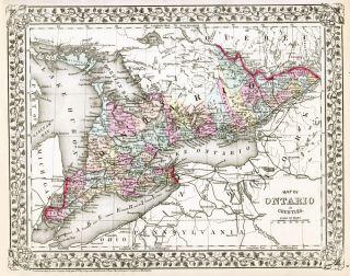 County Map Ontario North America Chart Lake Erie Huron Art