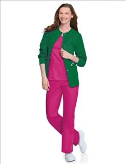 New Landau 7525 Warm Up Jacket Hunter Green Medical Nurse Scrubs All