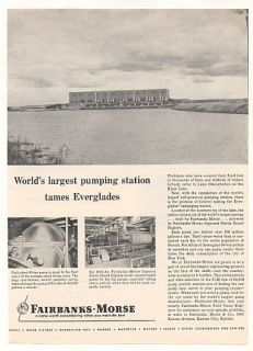 1955 Lake Okeechobee FL Pump Station Fairbanks Morse Ad