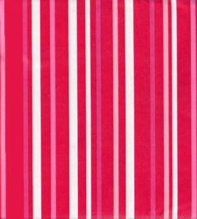 Red Pink White Stripe Design PEVA Vinyl Tablecloth Flannel Backing