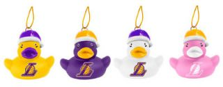 Lakers NBA Basketball Set 4 Vinyl Duck Holiday Christmas Ornaments