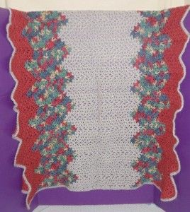 Vtg Hand Crocheted Baby Afghan Lap Robe Throw Cover Blanket Rose Pink