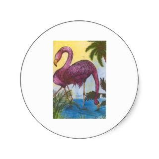Flamingo Mingle Tropical Bird Art Palm Tree Ferns Sticker