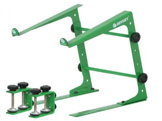 CASES LSTANDGRN NEW DJ GEAR LAPTOP STAND GREEN W/ TABLE & CASE CLAMPS