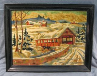 Numbers Oil Painting Covered Bridge Snow Scene Landscape Frame