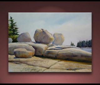 Maine Coast Stone Monoliths Landscape Painting Bechler