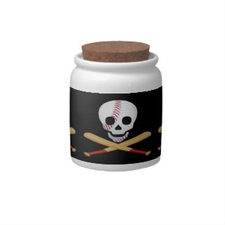 Skull and Cross Bones Baseball Style Candy Dishes