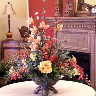 Large Artificial Silk Orichd Roses Flower Arrangement