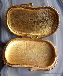 1973 Estee Lauder Solid Perfume Shell Compact with Blue Stone