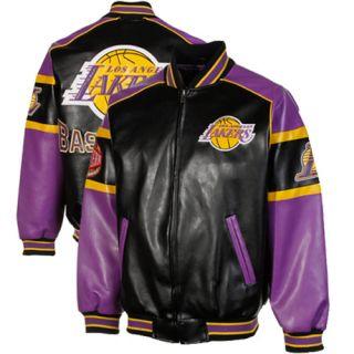 Los Angeles Lakers Post Game Full Zip Pleather Jacket Black Purple