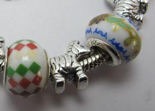 003 Murano Glass Lampwork Silver Plated European Charm Beaded Bracelet