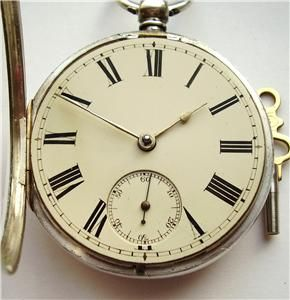 Large 1864 Antique Silver Fusee Chain Drive Pocket Watch