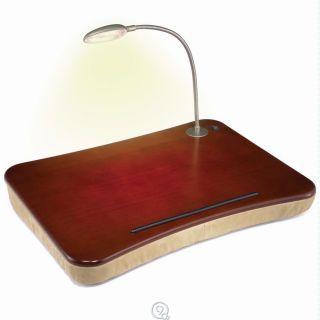 The Portable Lighted Lap Desk w/ Gooseneck LED Lamp Fits 17 Laptop