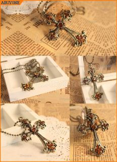 Vintage Bronze Large Cross Rhinestones Pendant Long Necklace