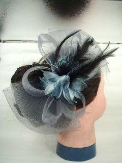 Bridal Feather Gray Flower Fascinator Headpiece Headwear Hair Clip
