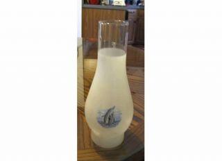 DOLPHINS HURRICANE LAMP KEROSENE FROSTED WHITE GLASS GLOBE SHADE