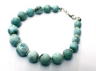 Blue Larimar Ball Sphere Round Bead 925 Silver Bracelet 8 0