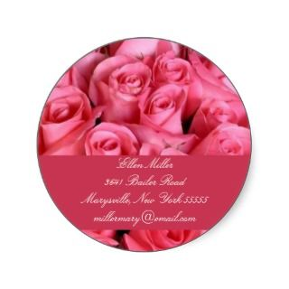 Hot Pink Rose Address Labels Seal Round Stickers