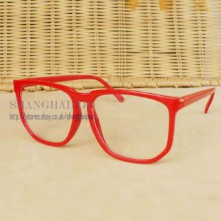 Red Clear Lens Glasses Big Large Frame Wayfarer Fancy Dress Costume