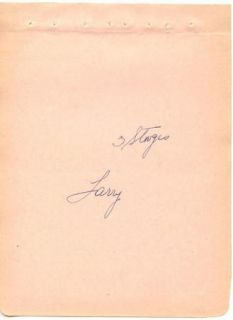 Three Stooges Larry Fine Vintage 1930s Original Signed Album Page