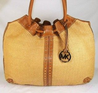 Michael Kors Panama Large Straw Tote Handbag Purse $298