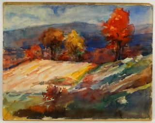 Constantine Massachusetts Impressionist Fall Landscape W/C Painting