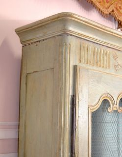 Chic French Style Large Sage Blue Mesh Armorie Wardrobe Cabinet