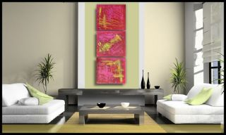 Abstract Paintings Contemporary Modern Art Triptych Textured Canvas No