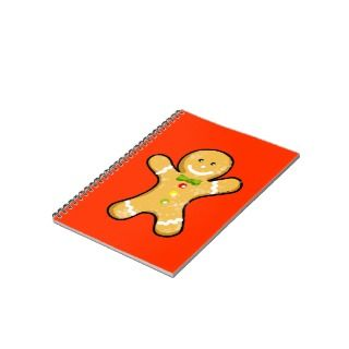 Cute gingerbread man cookie spiral notebook