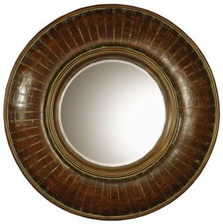 Large Tuscan Round Brown Wood Beveled Mirror Verdigris