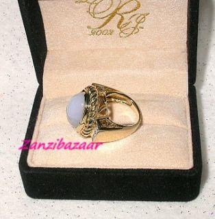 LAURA RAMSEY 14K YELLOW GOLD BLUE CHALCEDONY & DIAMOND DESIGNER RING