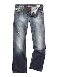 Diesel Zathan 8B9 Blue Wash Bootcut Jeans Denim   Mens Jeans