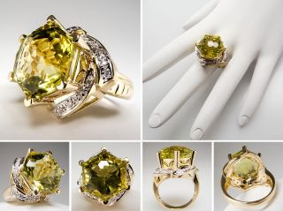 Laura Ramsey Lemon Quartz Cocktail Ring w Diamonds Solid 14k Gold Fine