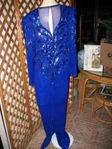 Diva Drag Blue Beaded Gown Formal Dress Plus XL 42 38 40