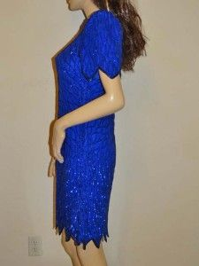 NEW Vtg Laurence Kazar Blue Silk Dress Evening Party Sequin Size M
